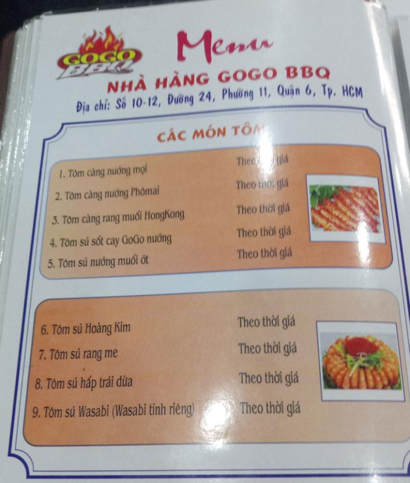 Menu GoGo BBQ – Đường 24 4