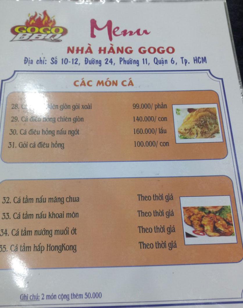 Menu GoGo BBQ – Đường 24 8