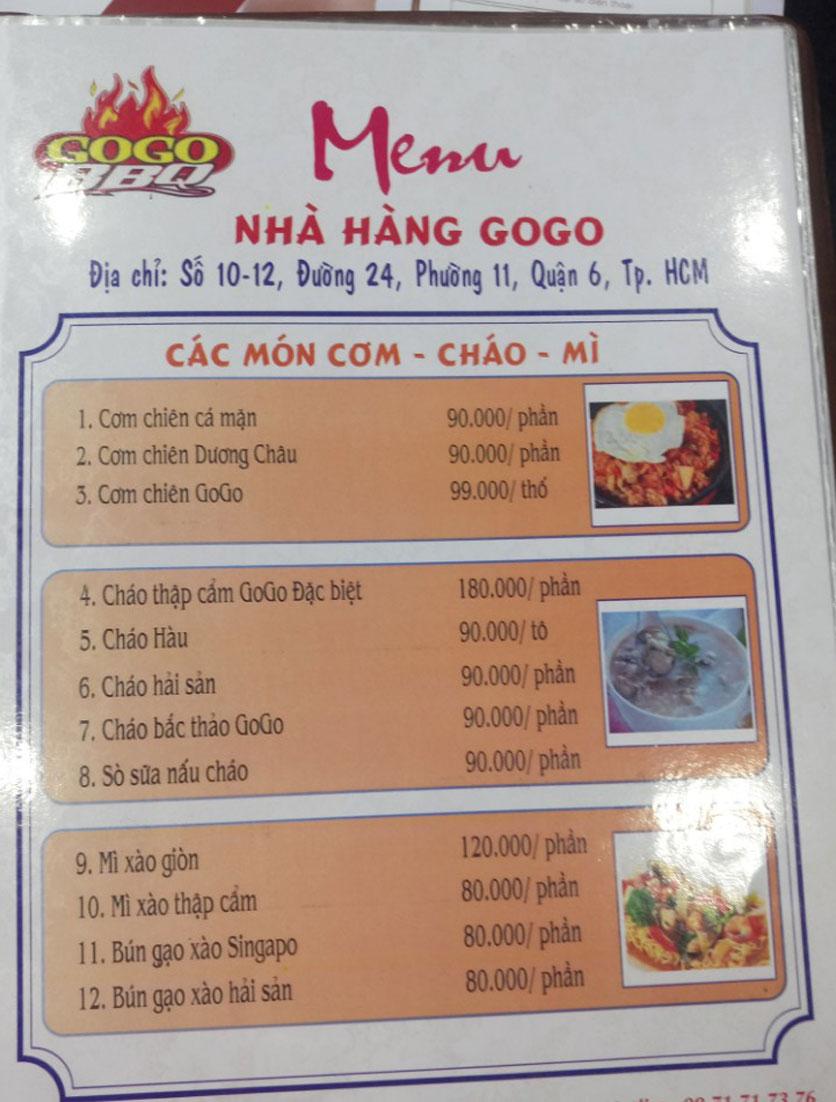 Menu GoGo BBQ – Đường 24 16