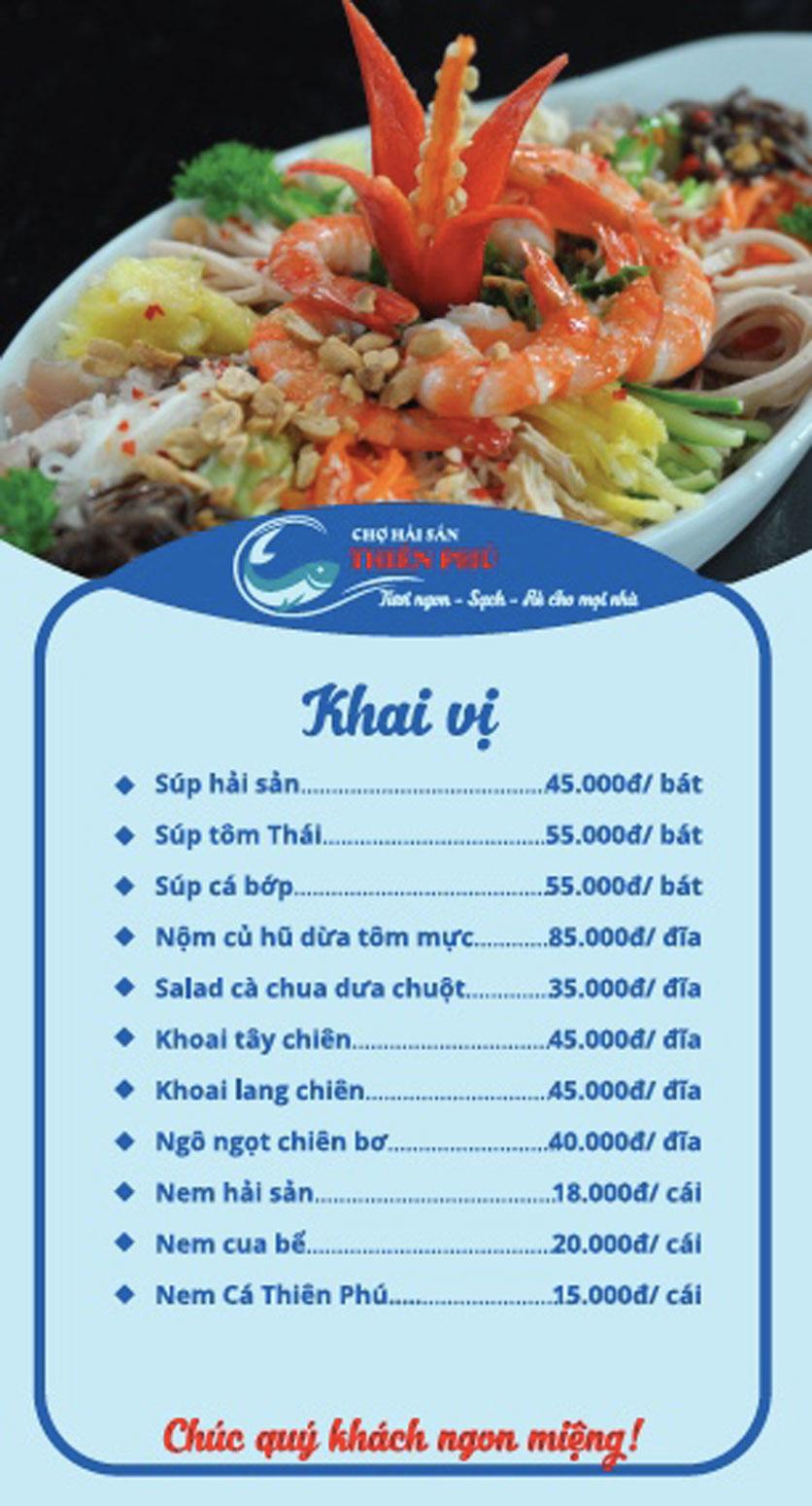 Menu Chợ Hải Sản Thiên Phú - KĐT Văn Phú 1