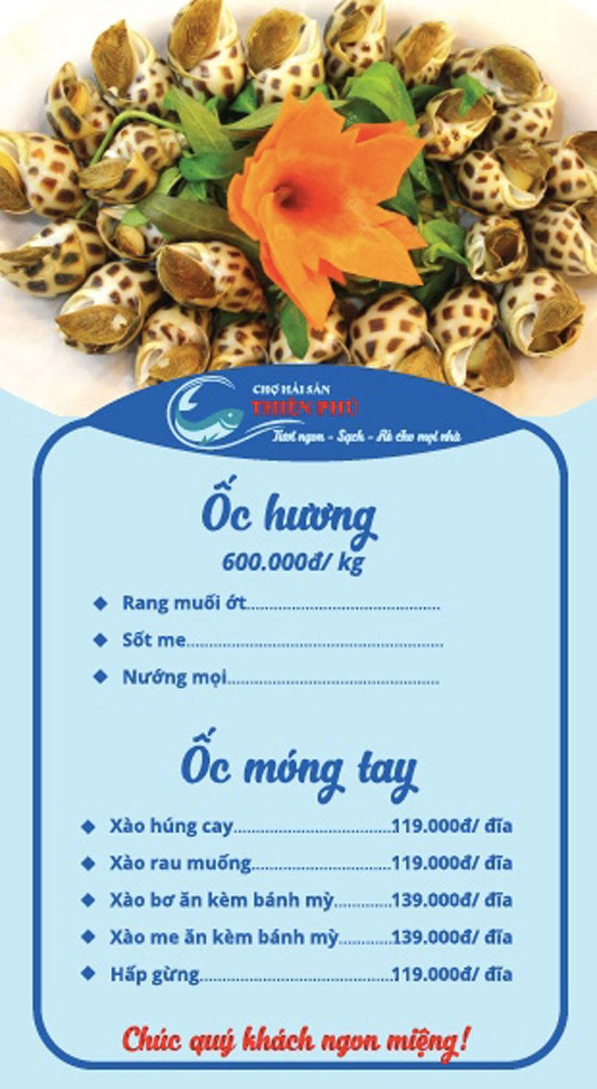 Menu Chợ Hải Sản Thiên Phú - KĐT Văn Phú 2