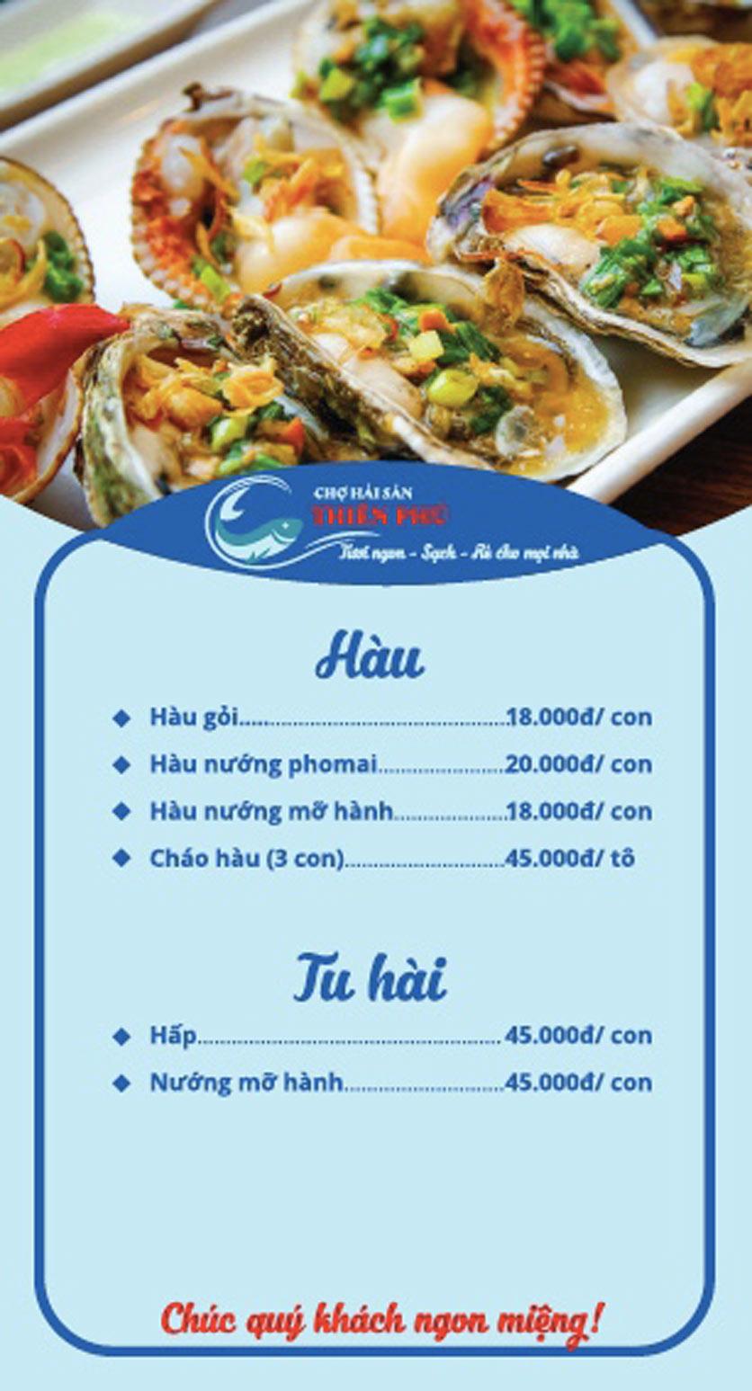 Menu Chợ Hải Sản Thiên Phú - KĐT Văn Phú 4