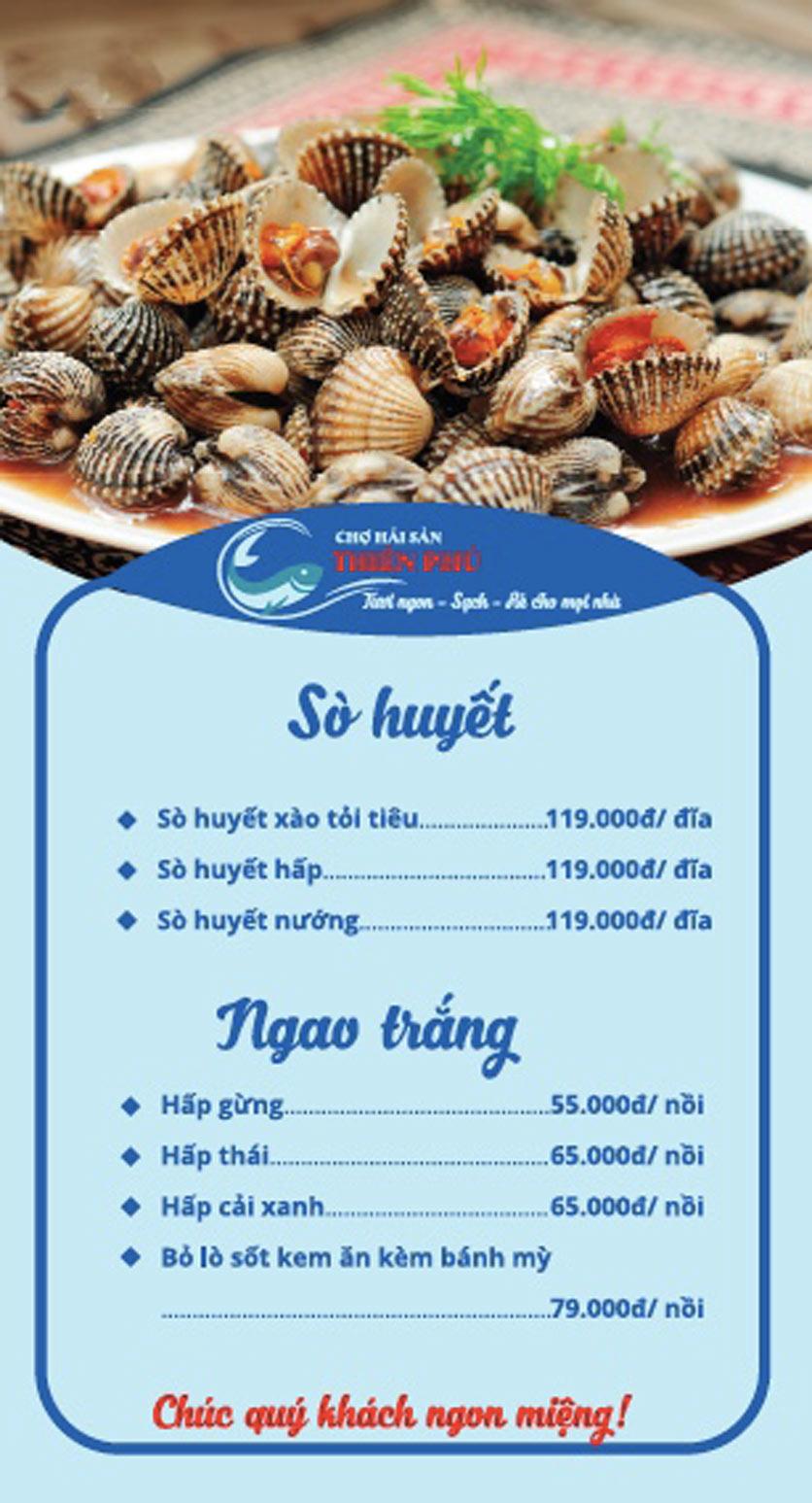 Menu Chợ Hải Sản Thiên Phú - KĐT Văn Phú 7