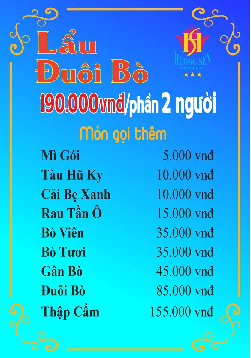 Menu Lẩu Đuôi Bò - Khách Sạn Hương Sen 3 3