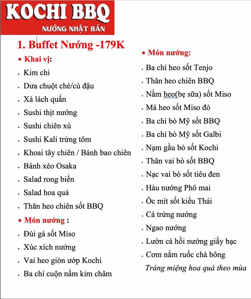 Menu Kochi BBQ - Hà Đông  2