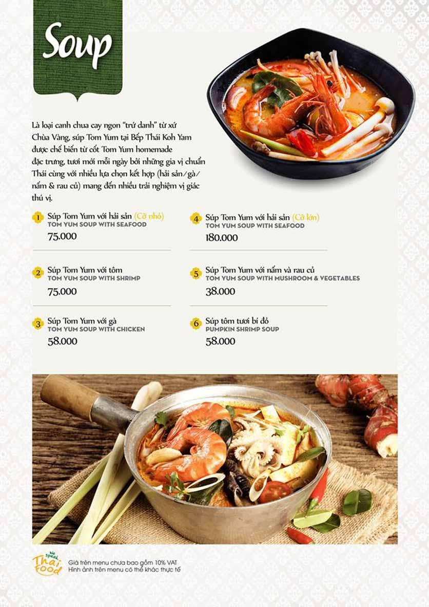 Menu Bếp Thái Koh Yam - Quang Trung 3