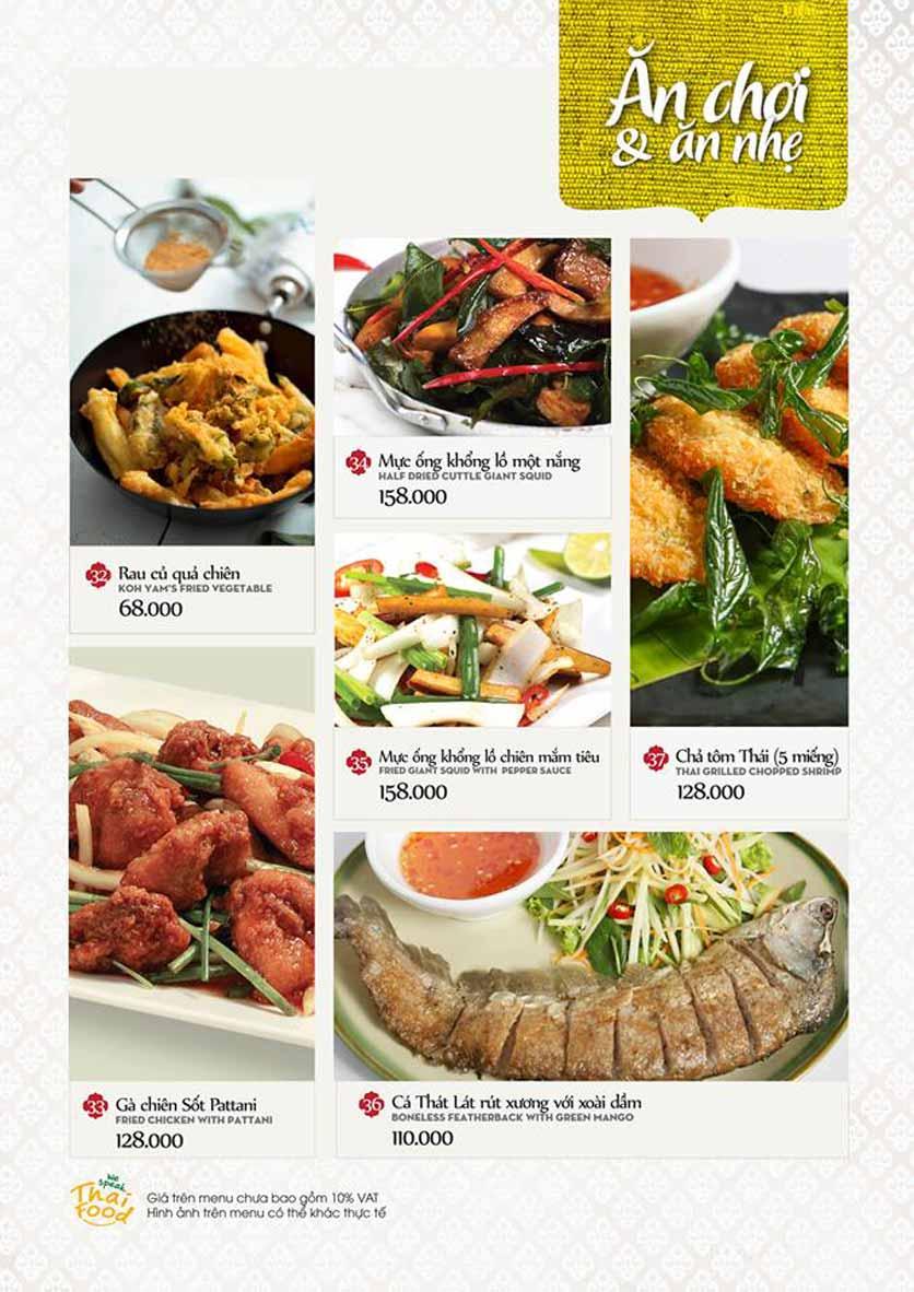 Menu Bếp Thái Koh Yam - Quang Trung 8