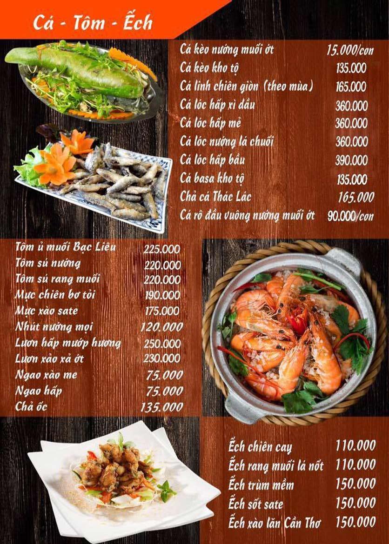 Menu Lẩu Mắm Ninh Kiều - Ô Chợ Dừa 2