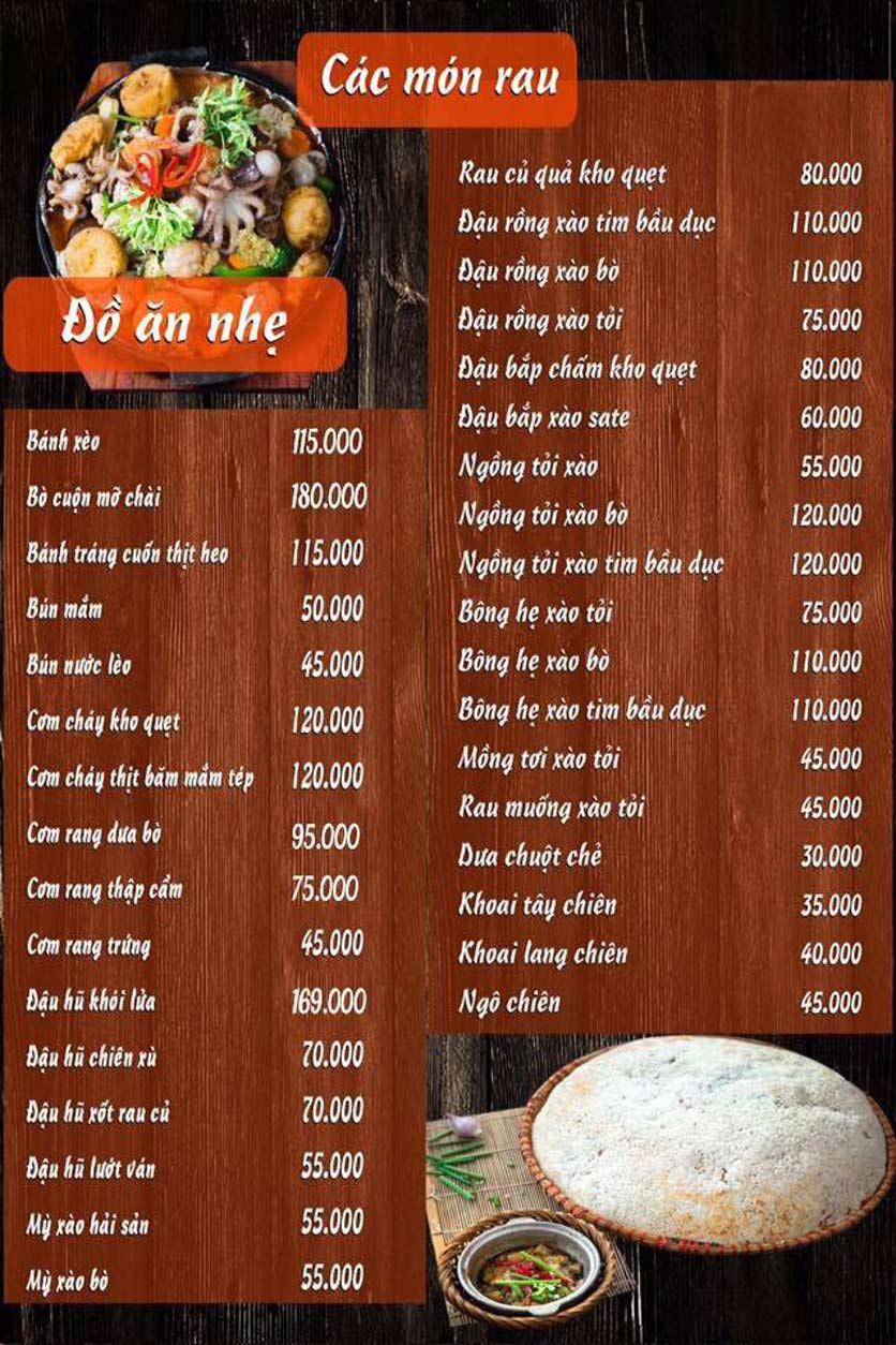 Menu Lẩu Mắm Ninh Kiều - Ô Chợ Dừa 5