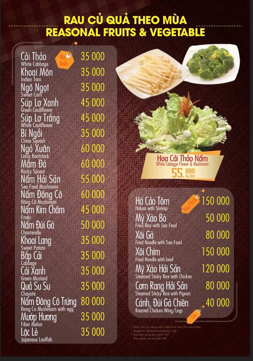 Menu Linh Nhạn Restaurant– Xuân Thủy 14
