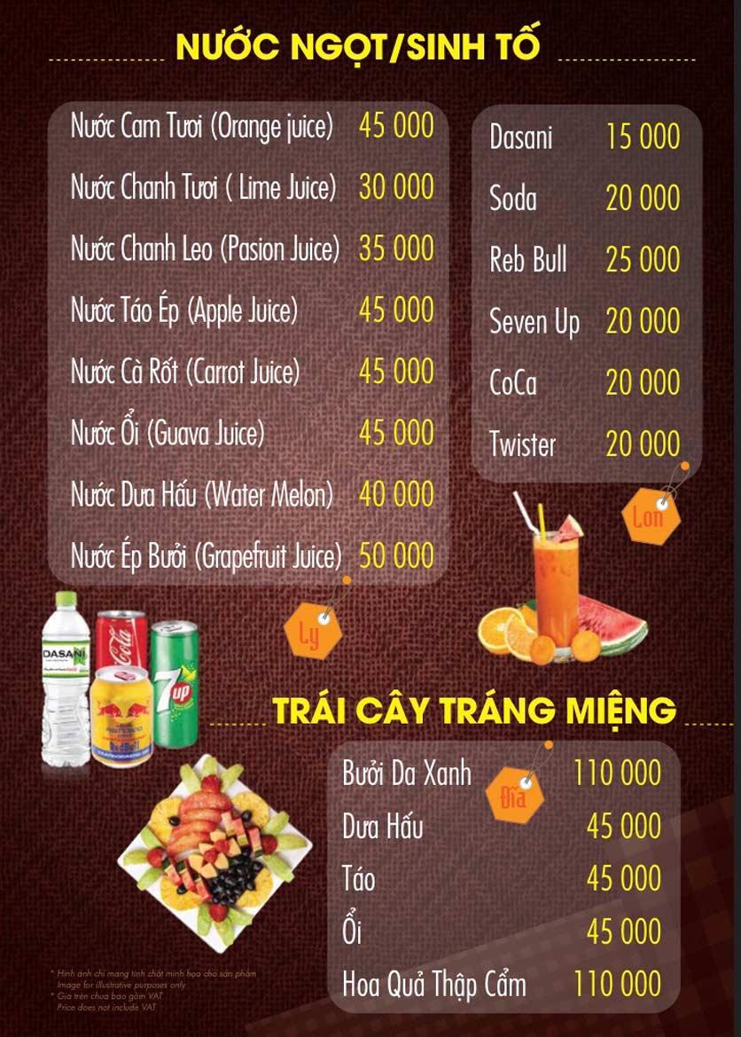 Menu Linh Nhạn Restaurant– Xuân Thủy 15