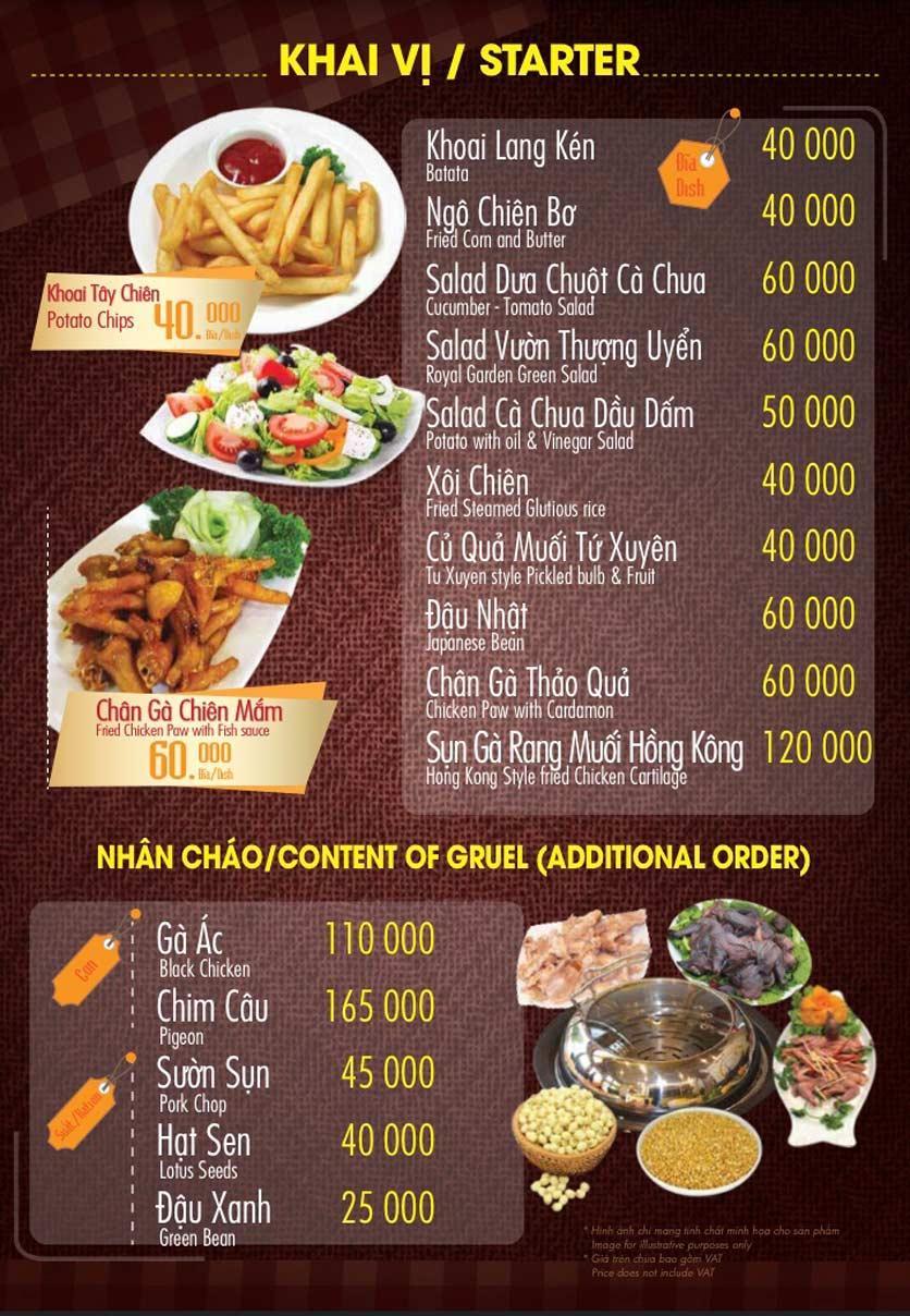 Menu Linh Nhạn Restaurant– Xuân Thủy 7