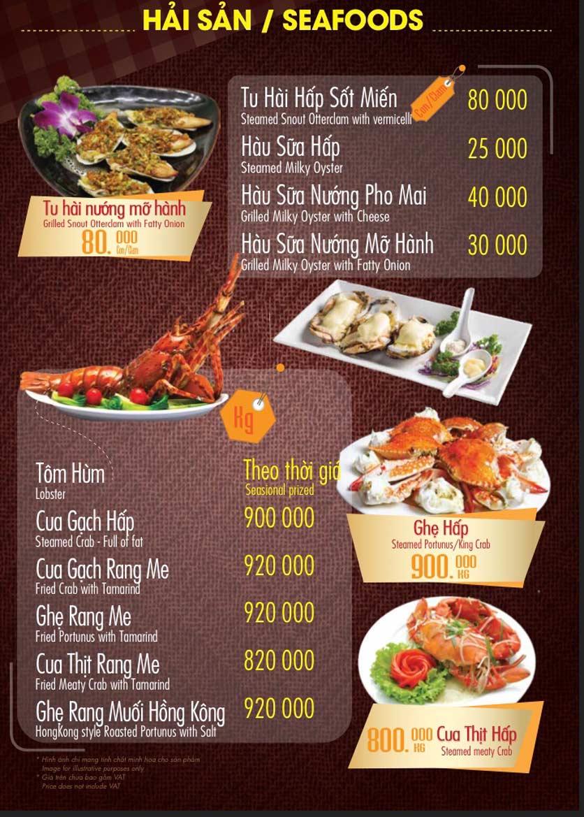 Menu Linh Nhạn Restaurant– Xuân Thủy 8