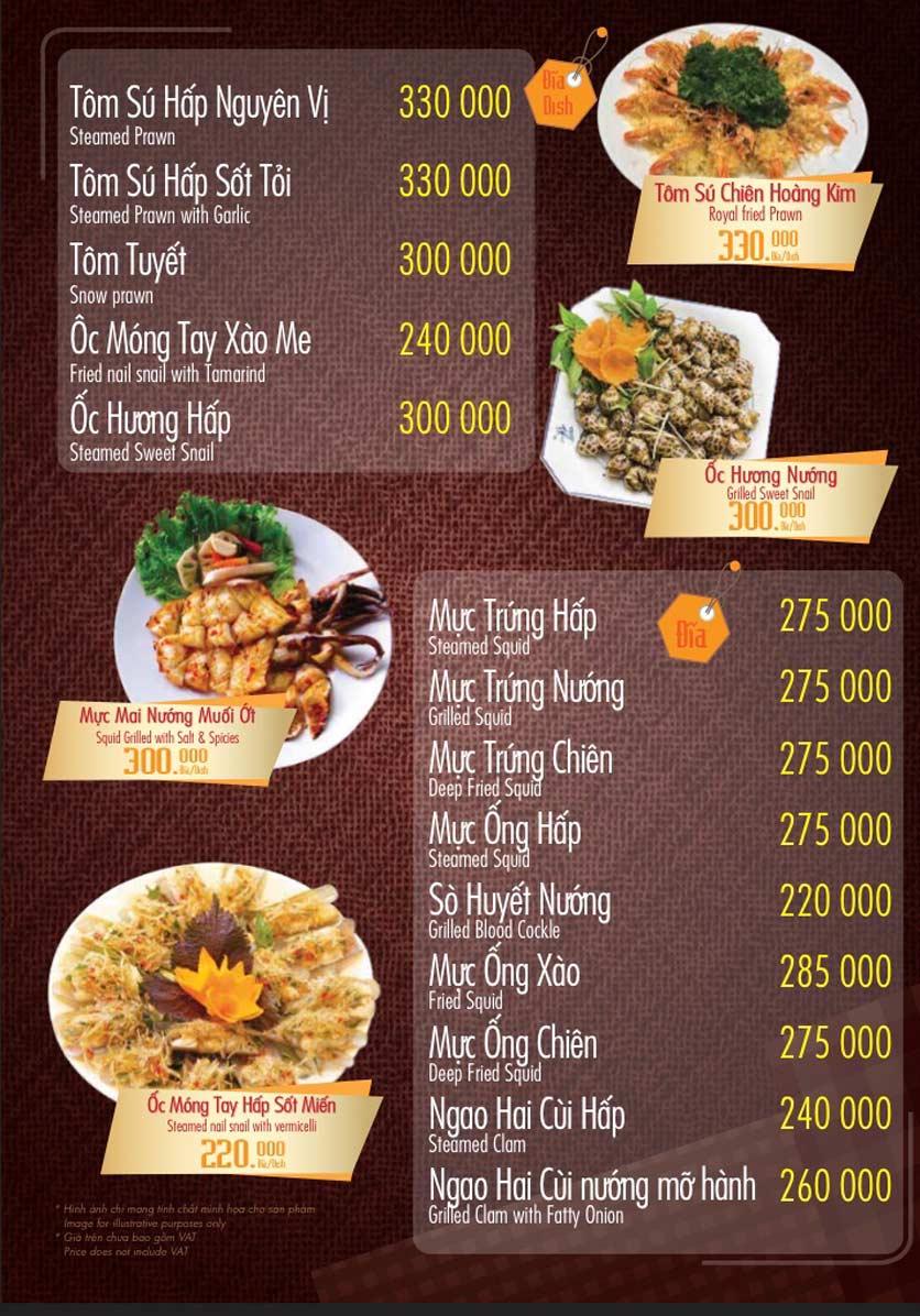 Menu Linh Nhạn Restaurant– Xuân Thủy 9