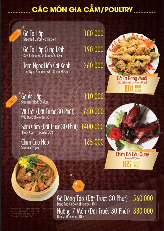 Menu Linh Nhạn Restaurant– Xuân Thủy 11