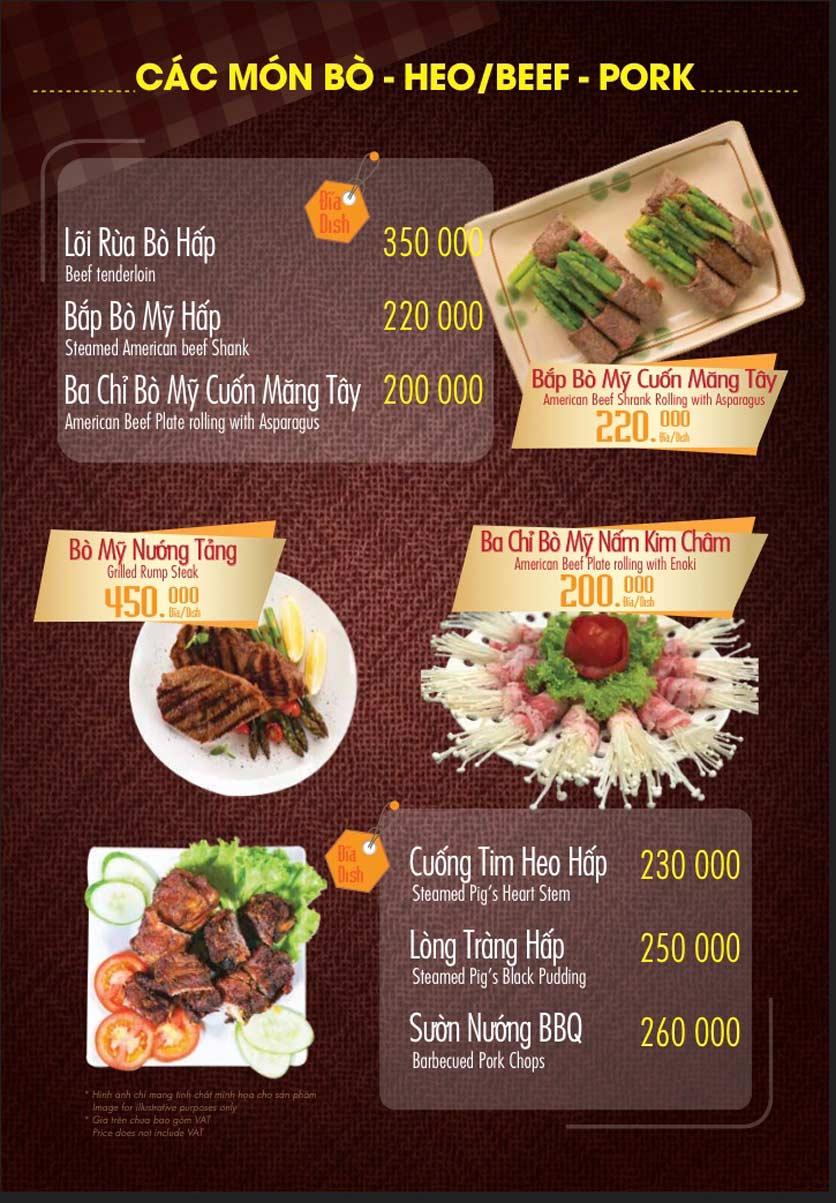Menu Linh Nhạn Restaurant– Xuân Thủy 12