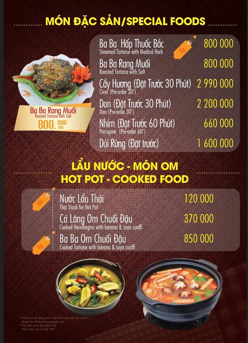 Menu Linh Nhạn Restaurant– Xuân Thủy 13