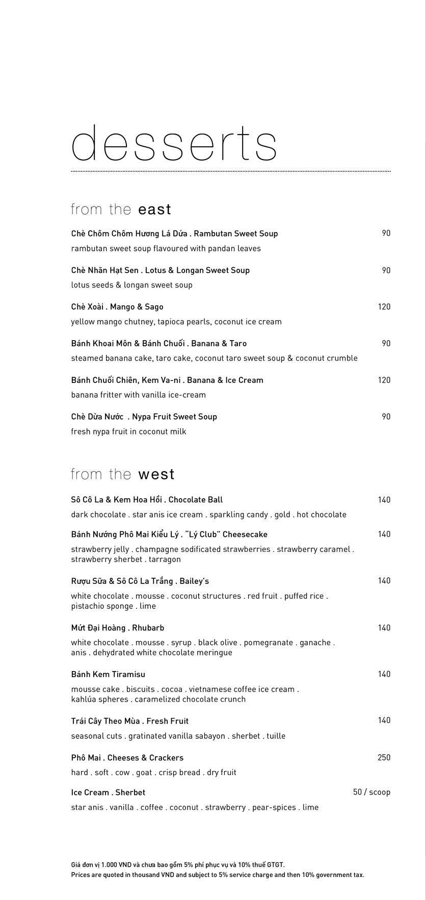 Menu Lý Club Sài Gòn – Nam Kỳ Khởi Nghĩa 13