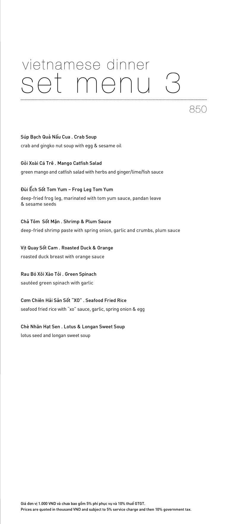 Menu Lý Club Sài Gòn – Nam Kỳ Khởi Nghĩa 21