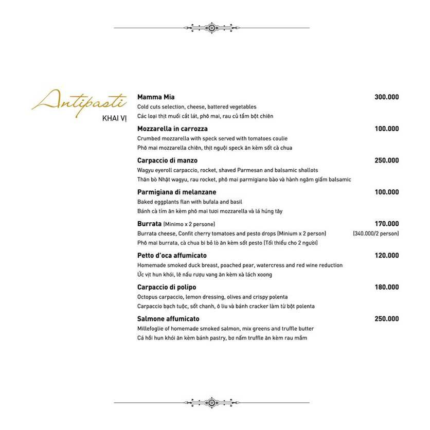 Menu Mamma Mia - Italian Restaurant  1