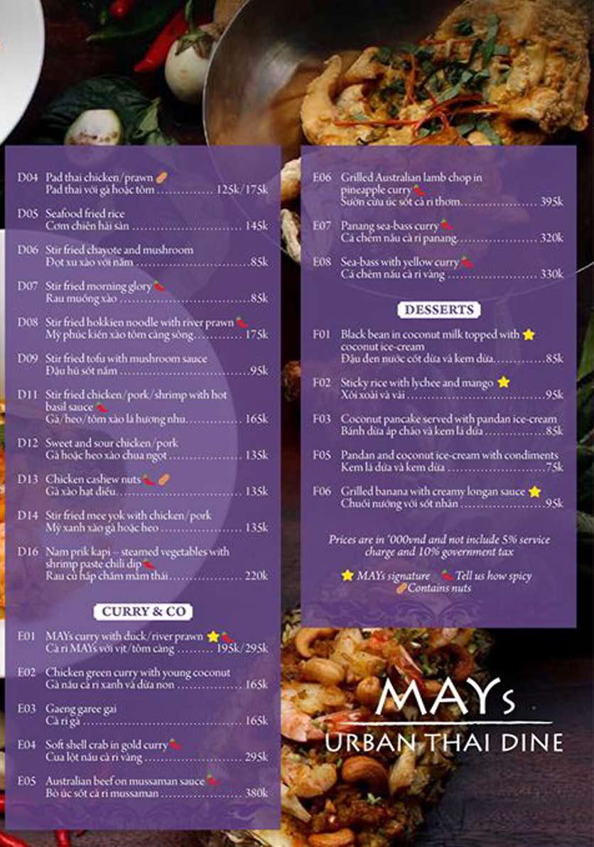 Menu MAYs Urban Thai Dine – Nguyễn Ư Dĩ 5