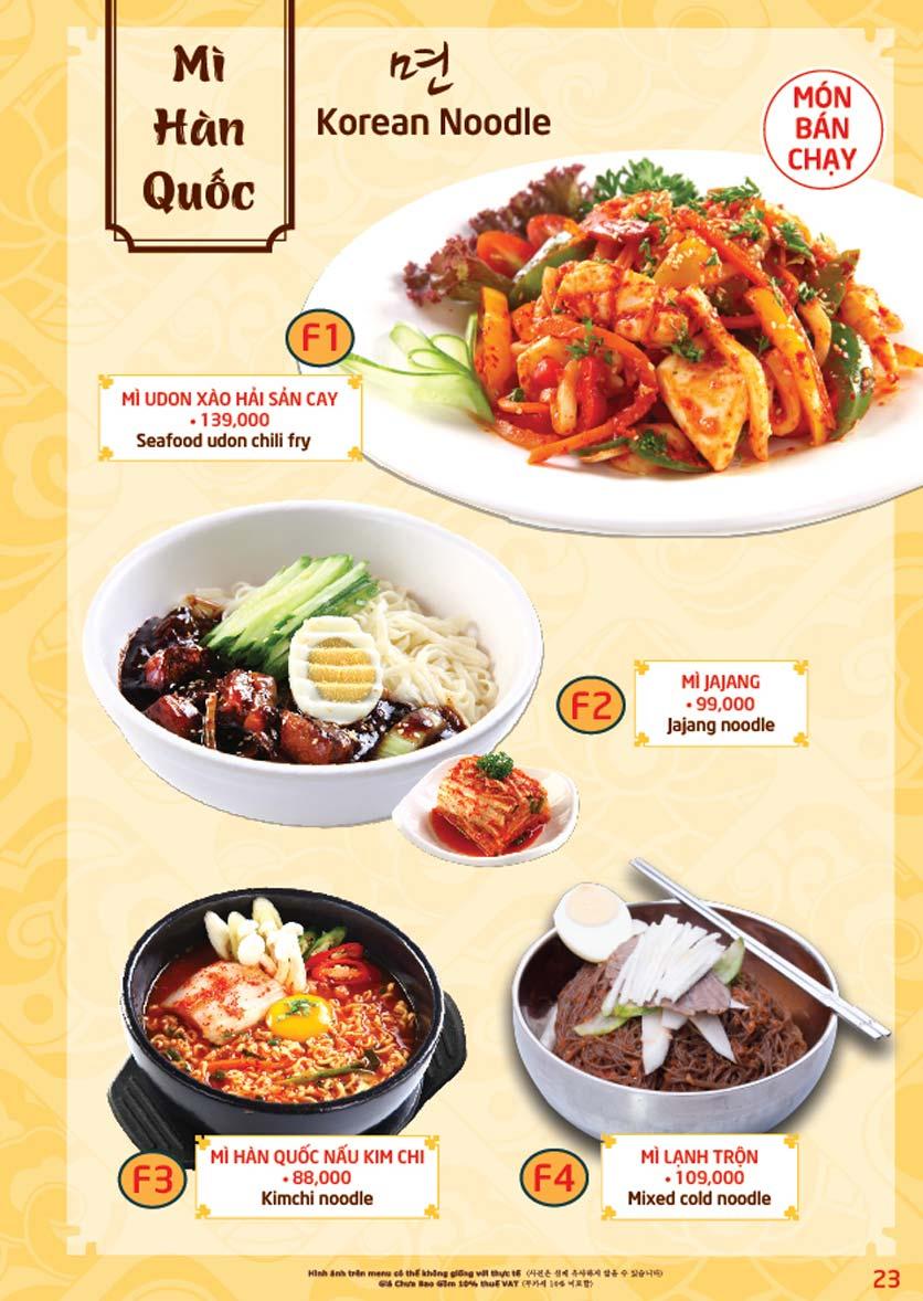 Menu Mr.Park – Sườn Nướng Hàn Quốc - The Garden Mall 22
