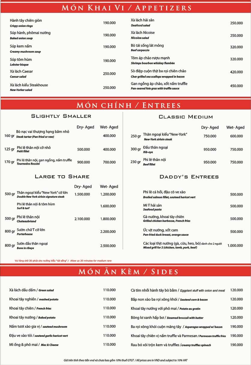 Menu New York Steakhouse Sài Gòn - Nguyễn Đình Chiểu 1