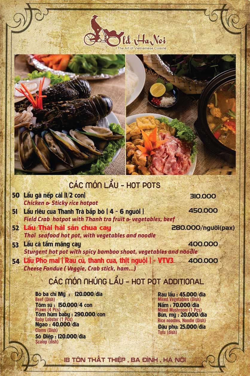 Menu Old Hanoi Restaurant - Tôn Thất Thiệp 6