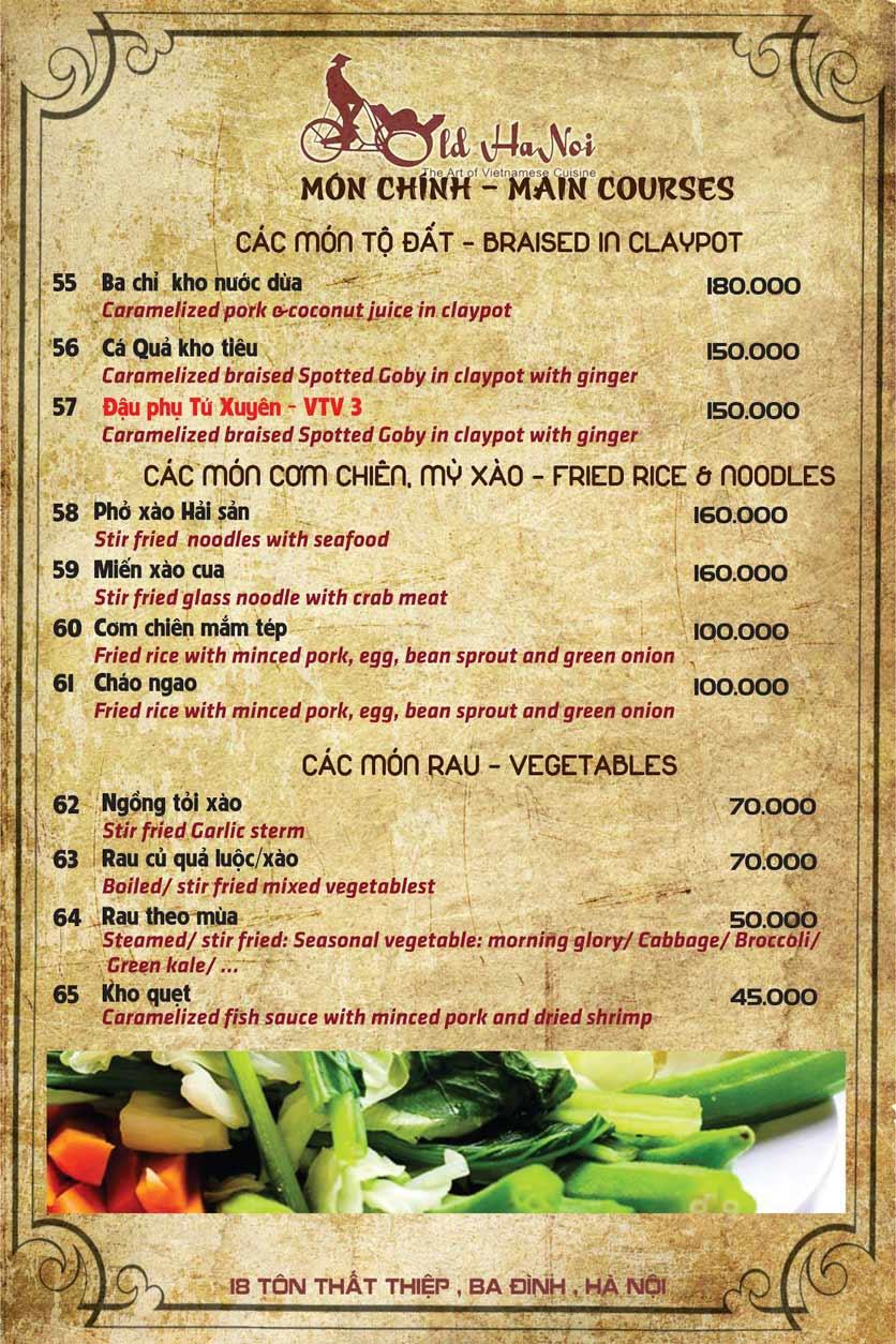 Menu Old Hanoi Restaurant - Tôn Thất Thiệp 7