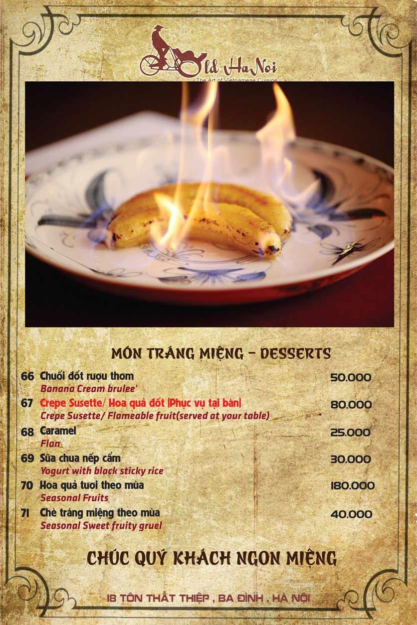 Menu Old Hanoi Restaurant - Tôn Thất Thiệp 8