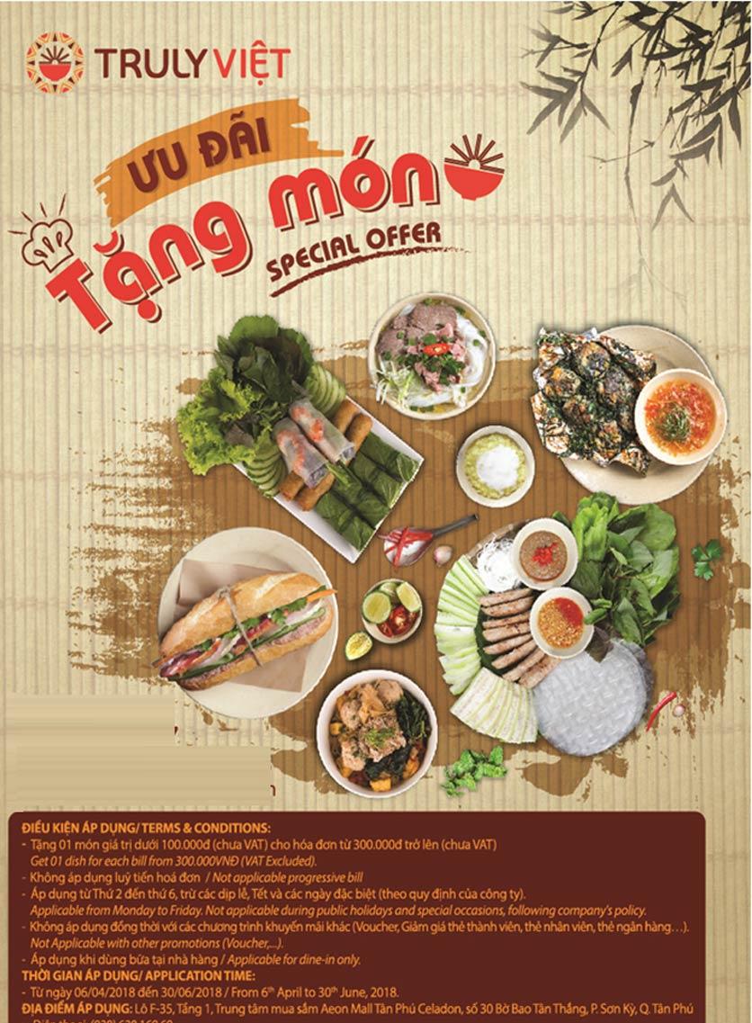 Menu Truly Việt - Aeon Mall Tân Phú 1