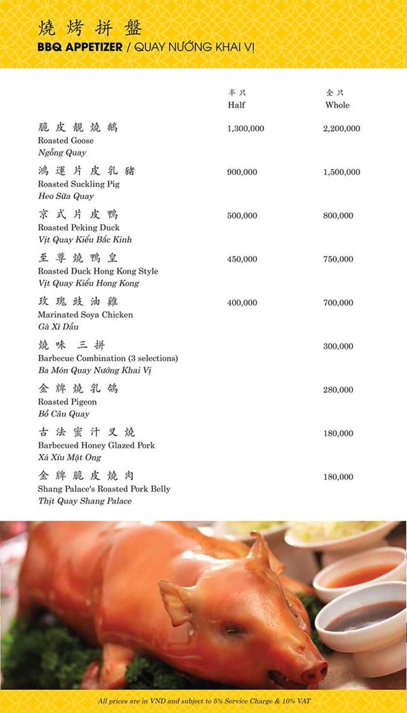 Menu Shang Palace - Lý Tự Trọng 2
