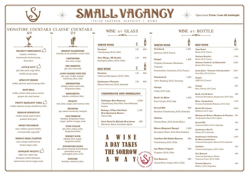 Menu Small Vacancy - 178/4b Pasteur 2