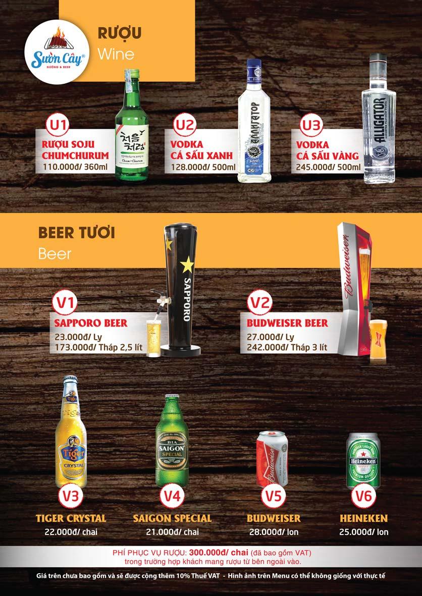 Menu Sườn Cây Nướng & Beer – Quang Trung 23