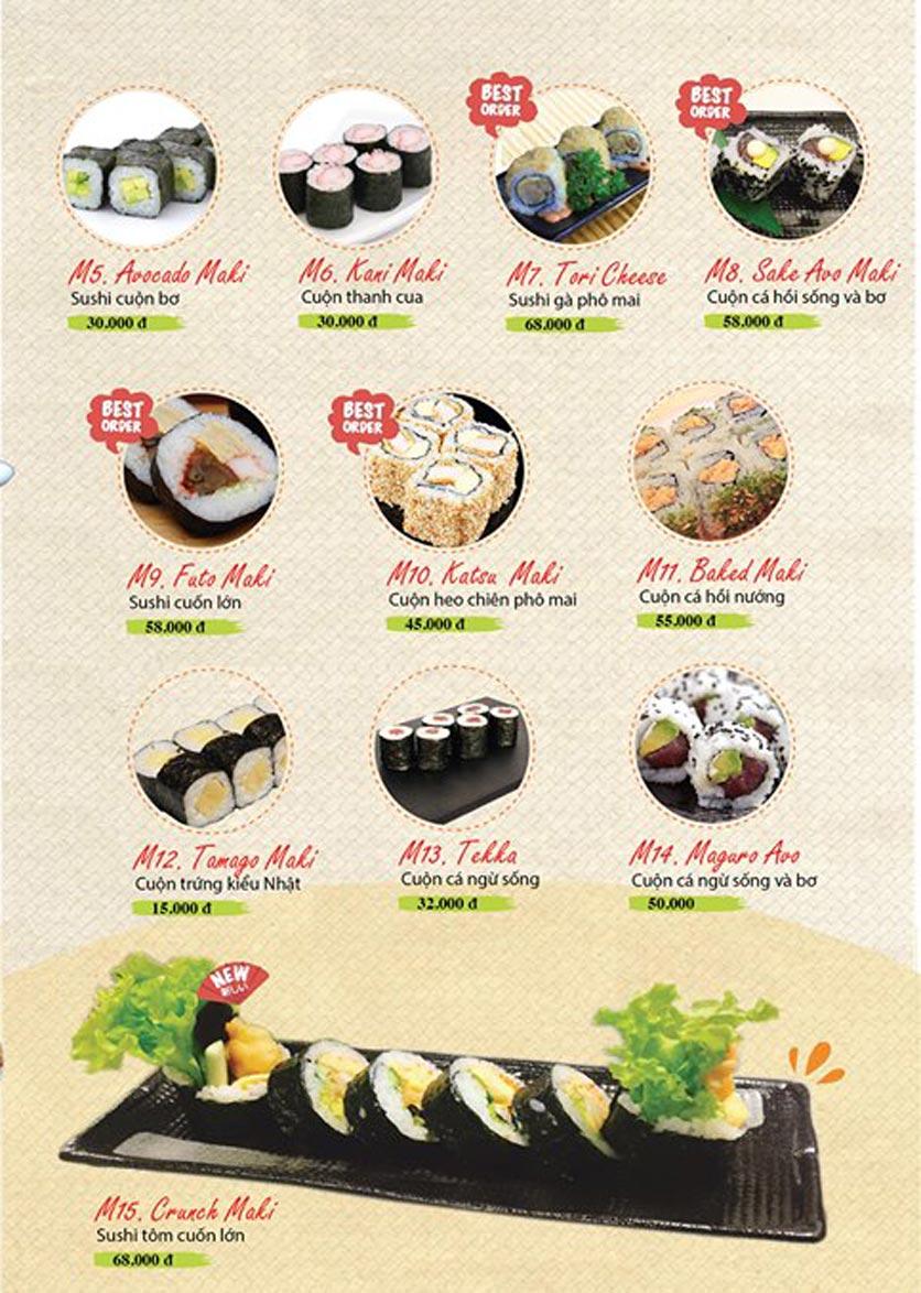 Menu Sushi Ba Con Sóc - Hoa Lan 7