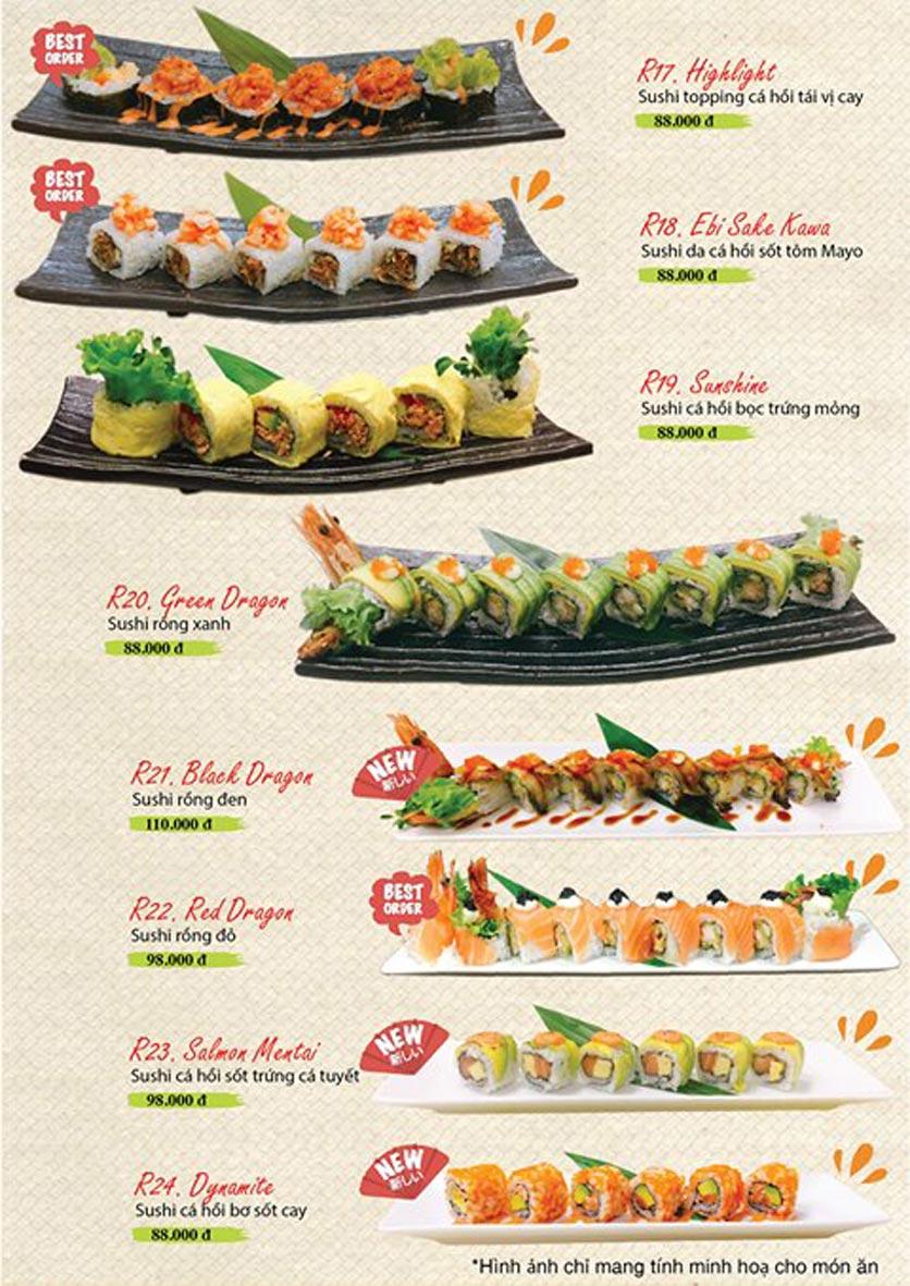Menu Sushi Ba Con Sóc - Hoa Lan 16