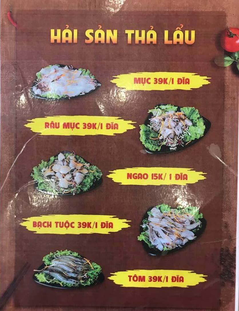 Menu T-House - Đại Cồ Việt 4