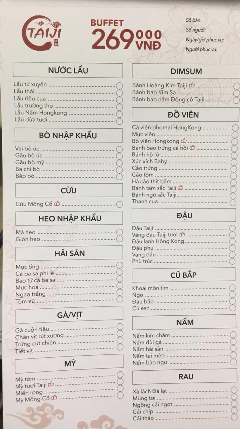 Menu Taiji Hotpot - Hàng Bông 1