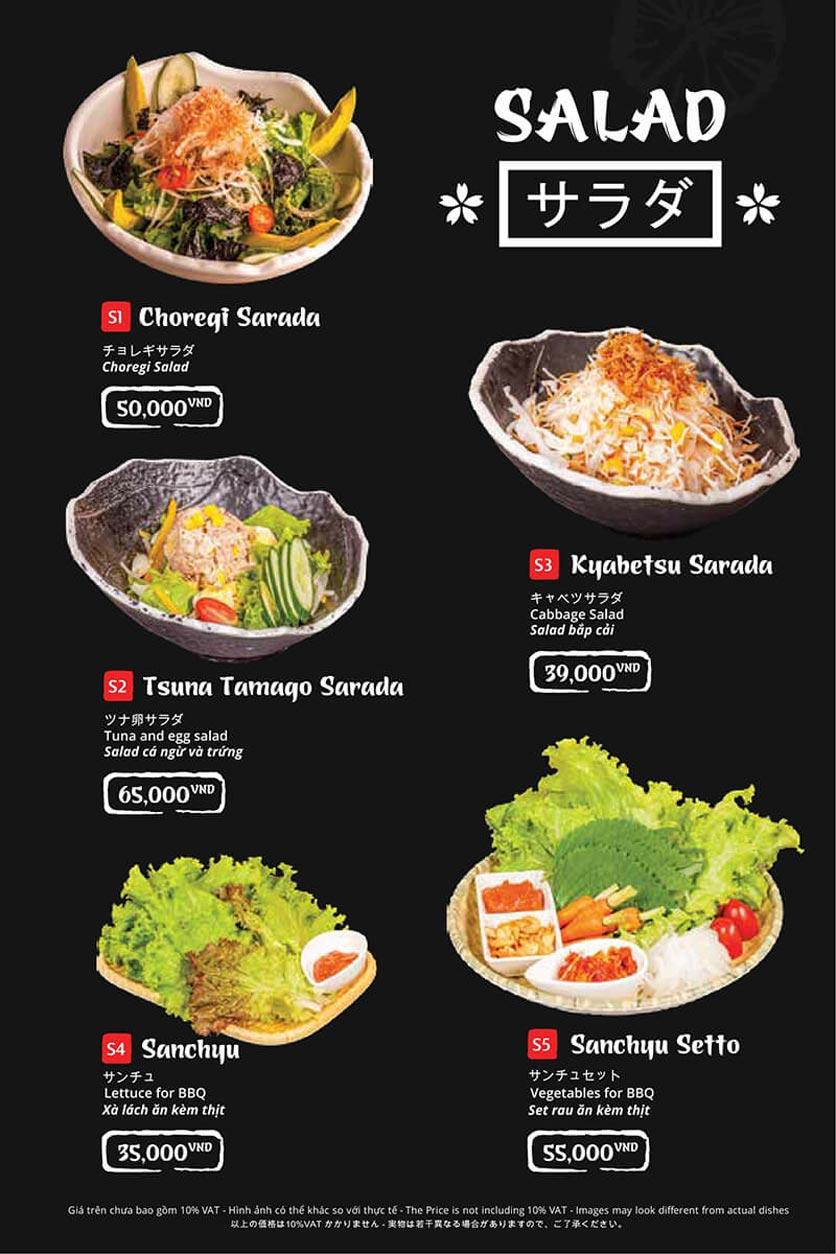 Menu Tasaki BBQ - Trần Thái Tông 1