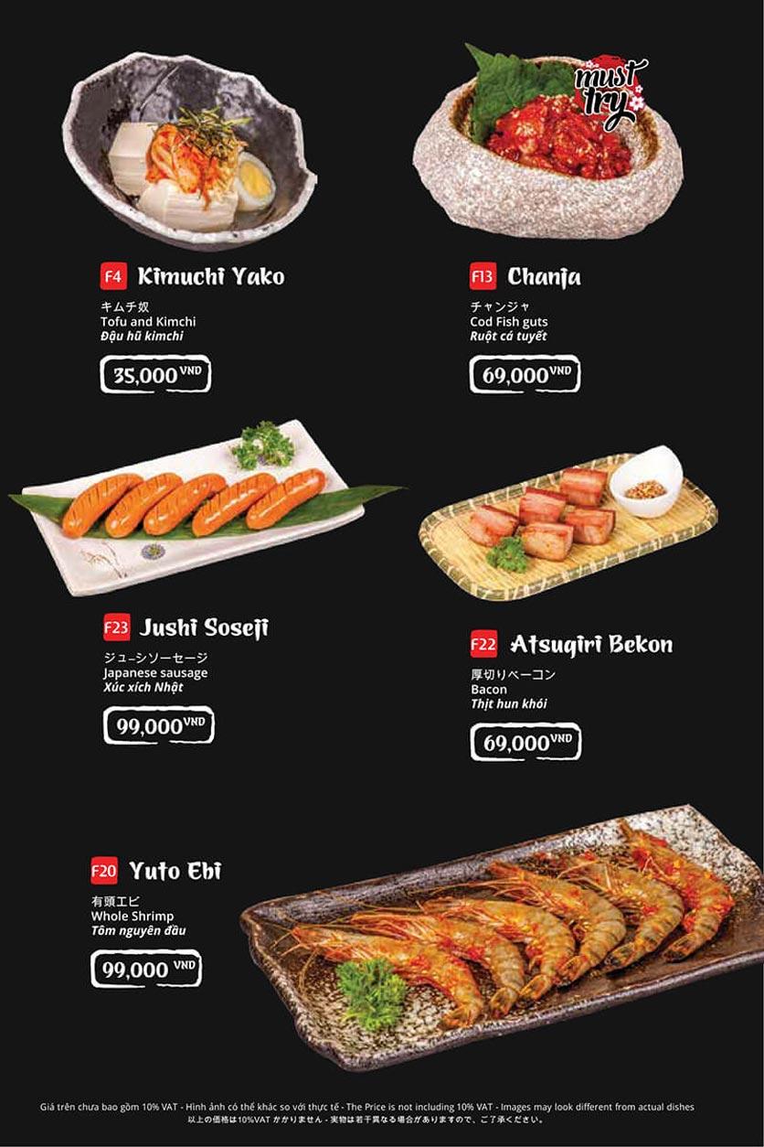 Menu Tasaki BBQ - Trần Thái Tông 6