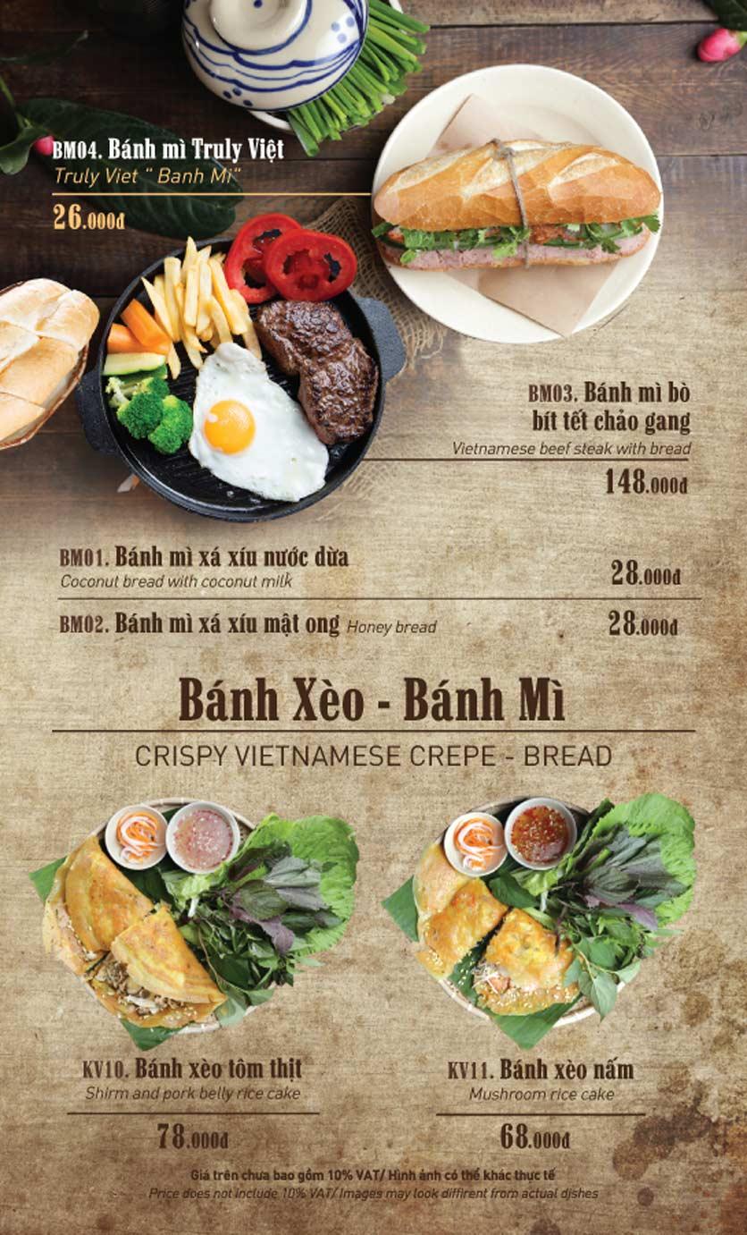 Menu Truly Việt - Duy Tân 1