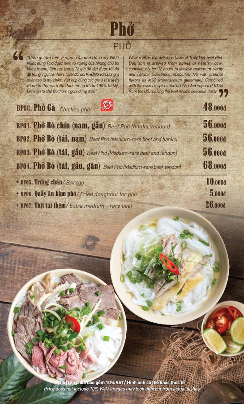 Menu Truly Việt - Duy Tân 2