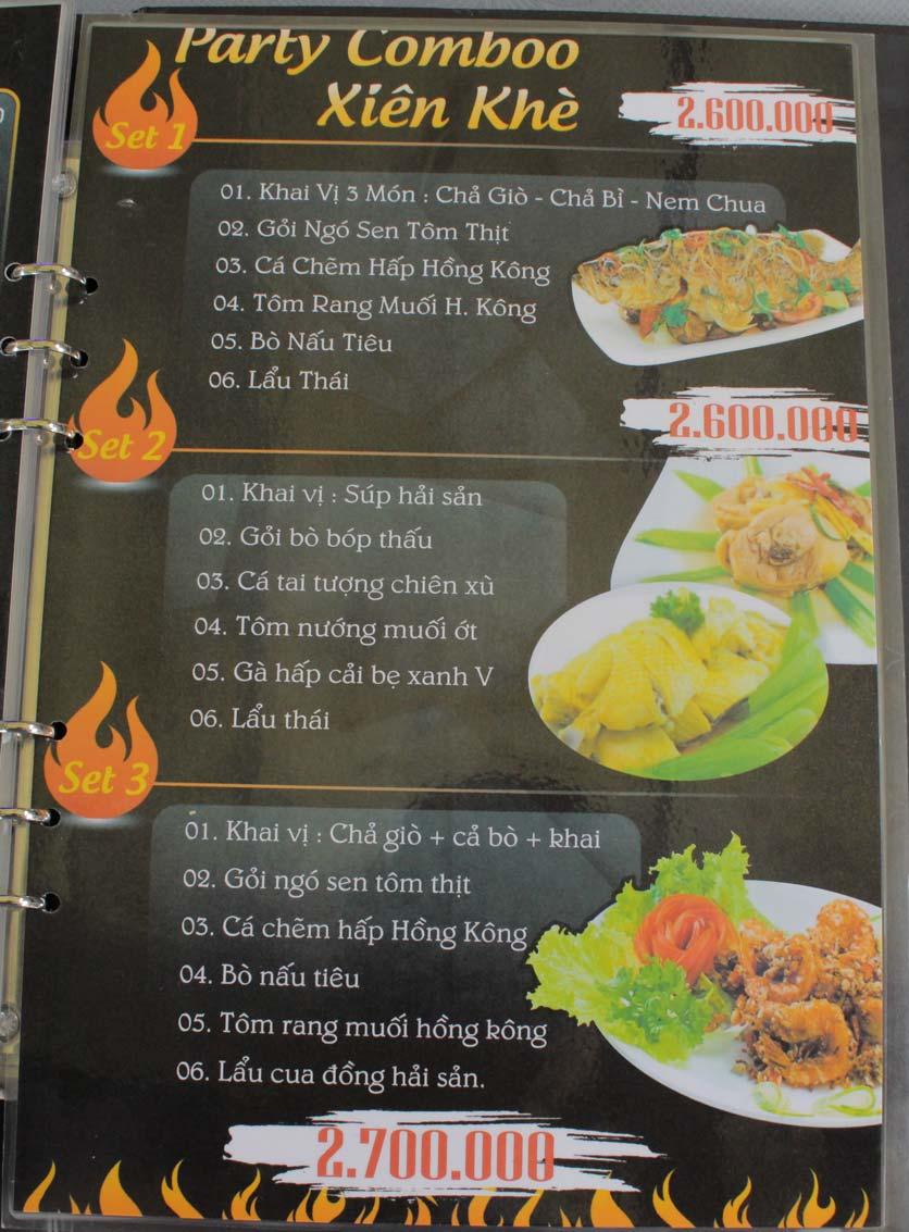 Menu Xiên Khè - Đồng Nai  1