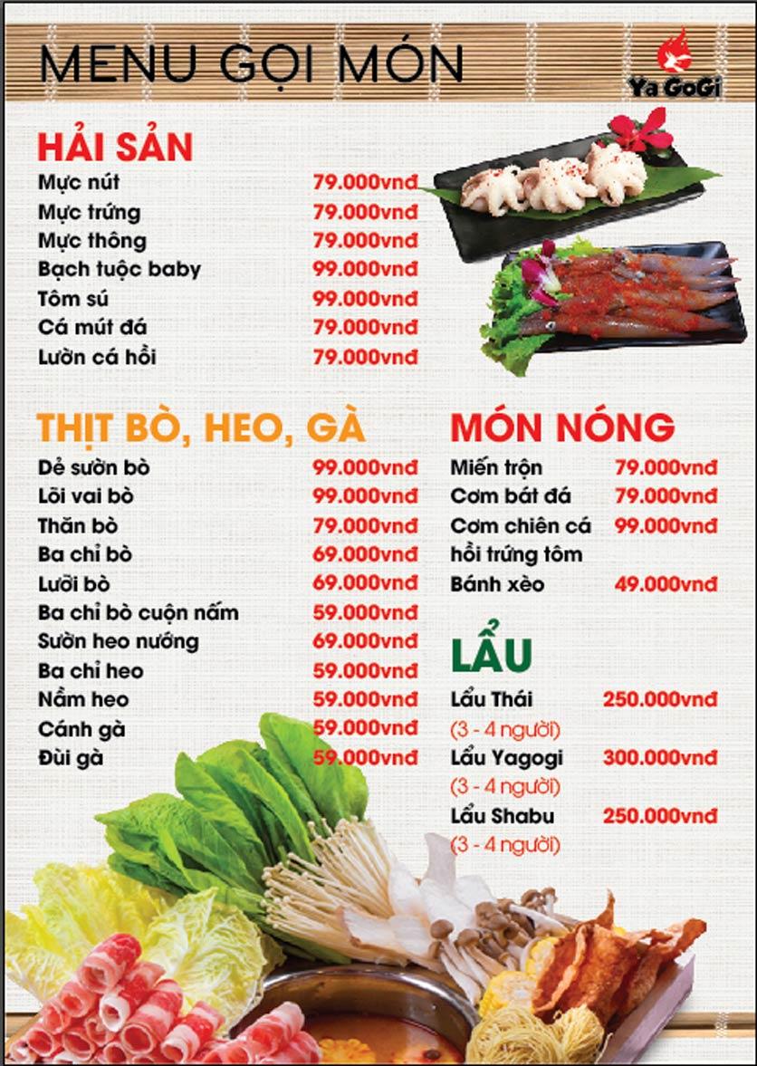 Menu Ya Gogi - Dương Nội 11