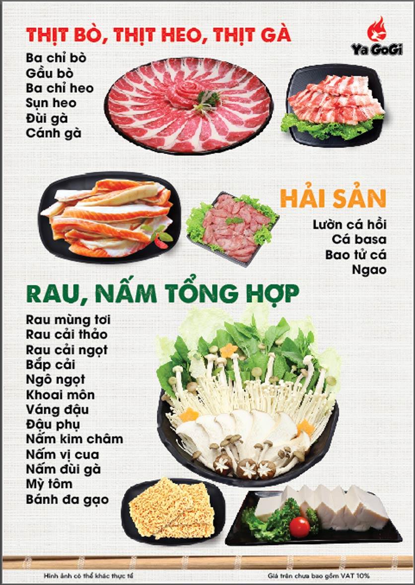 Menu Ya Gogi - Dương Nội 2
