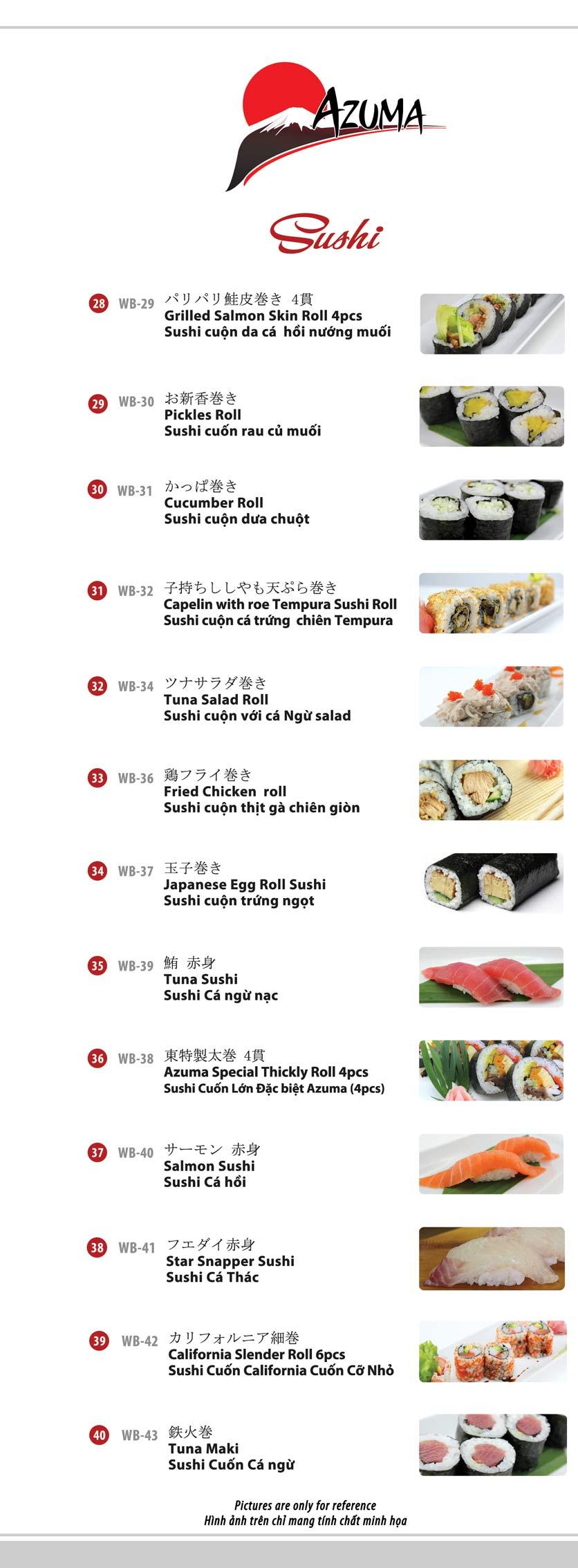 Menu Azuma Japanese Restaurant - Ngọc Khánh 9