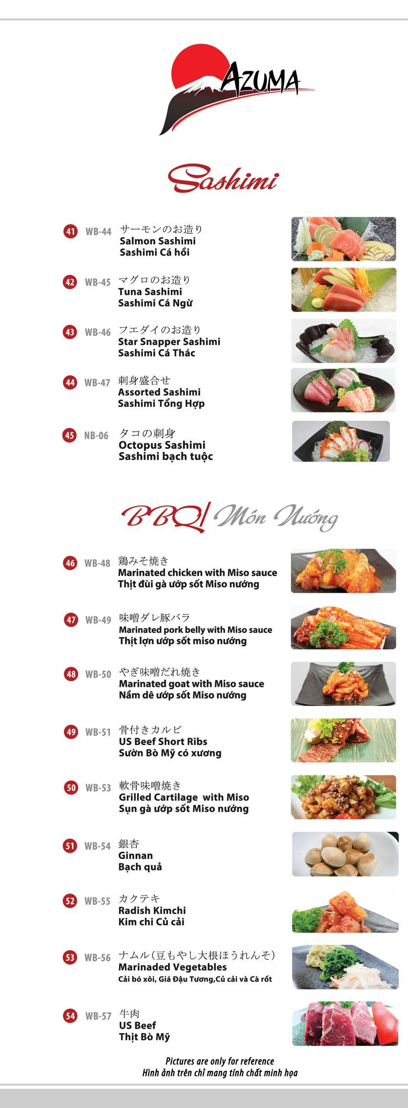 Menu Azuma Japanese Restaurant - Ngọc Khánh 11