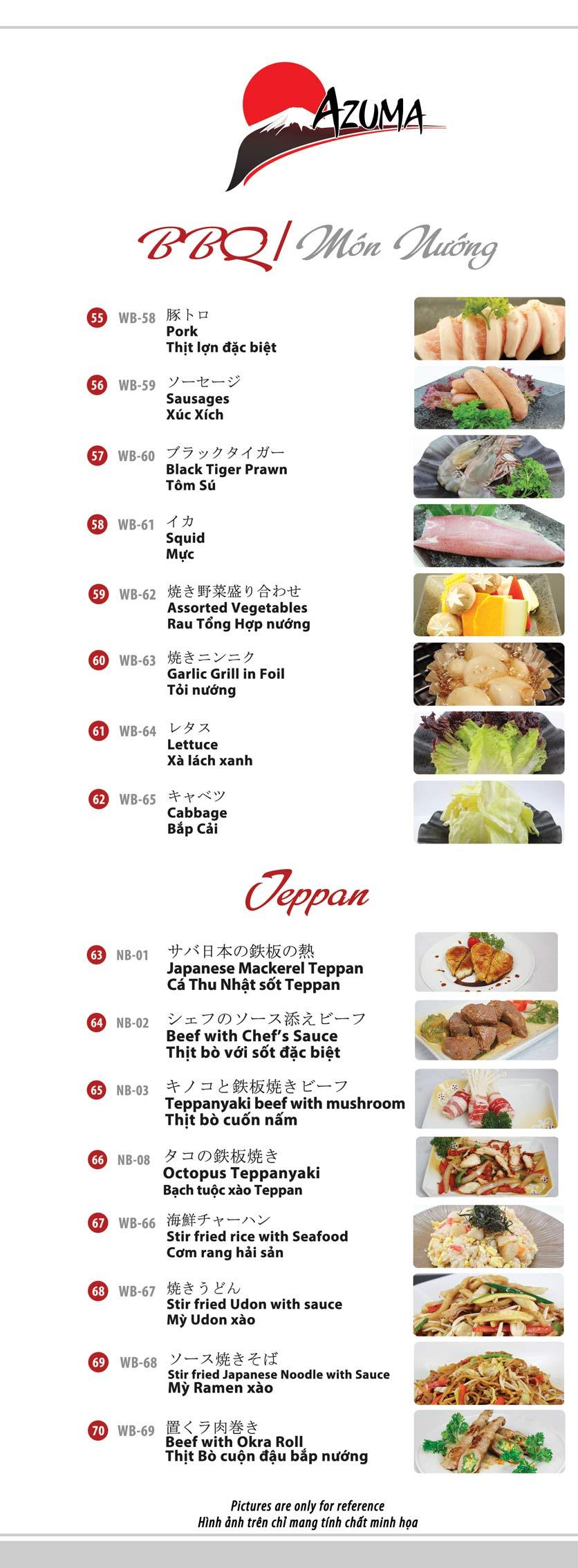 Menu Azuma Japanese Restaurant - Ngọc Khánh 12