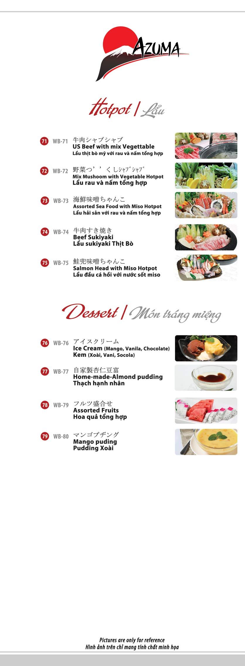 Menu Azuma Japanese Restaurant - Ngọc Khánh 13