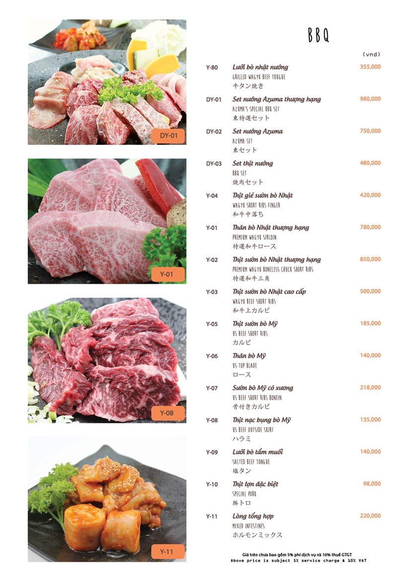 Menu Azuma Japanese Restaurant - Ngọc Khánh 32